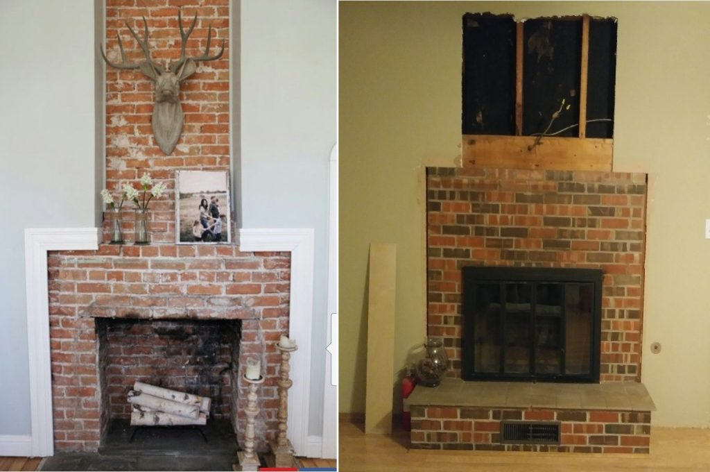 Two fireplaces side-by-side. The left is an example of brick to the ceiling. The right picture shows a fireplace with a header in place of a mantle.